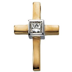 14K Gold Diamond Cross 18x12mm
