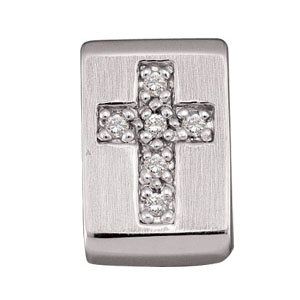 14KW Diamond Cross Pendant Slide 13.75x9.5mm