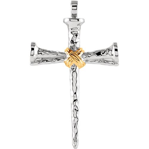 14KTT Gold Nail Cross 50.5x34.5mm