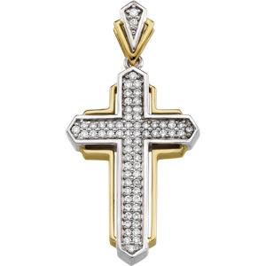 2/3 CT TW Diamond Cross 34.75x20.75mm