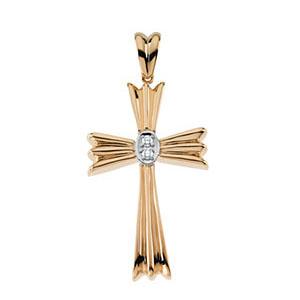 14K Gold Diamond Cross 41x22.5mm