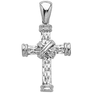 14kt White Gold 1 1/8in Wrapped Rope Cross