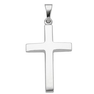 14kt White Gold 1in Latin Cross with Polished Finish