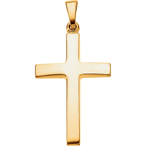 14kt Yellow Gold 1in Latin Cross with Polished Finish