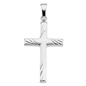 14kt White Gold 1in Cross with Curved Lines