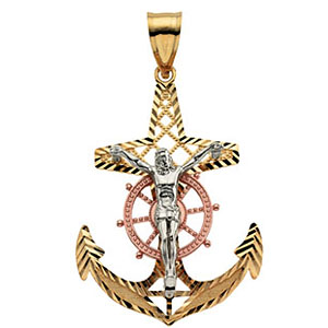 14kt Tri-Color Gold 1 1/4in Mariner's Cross