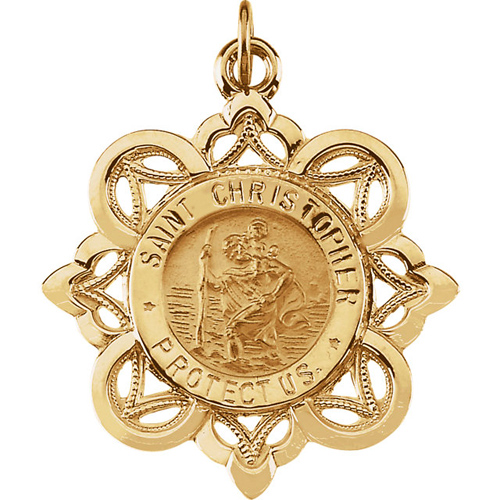 St. Christopher Medal 28.5x26mm - 14k Yellow Gold