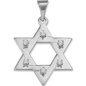 14kt White Gold 1 1/4in Star of David Diamond Pendant