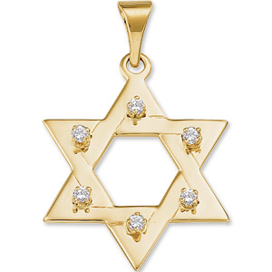 14kt Yellow Gold 1in Star of David Diamond Pendant
