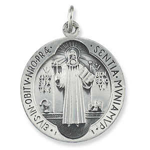 Sterling Silver 18mm St. Benedict Medal & 18in Chain