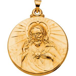 14k Sacred Heart of Jesus Medal 30.5mm