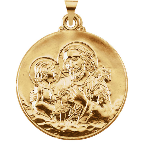 Hollow 14kt Yellow Gold St. Joseph Medal 29mm