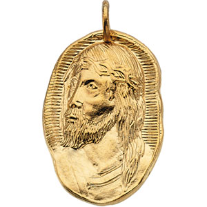 Face of Jesus 26x18mm - 14kt Yellow Gold