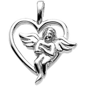 14KW Gold Angel Heart Pendant 18x15mm