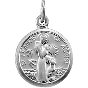 14k White Gold 3/8in St. Francis Charm