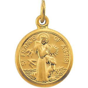 14k Yellow Gold St. Francis of Assisi Round Charm 3/8in