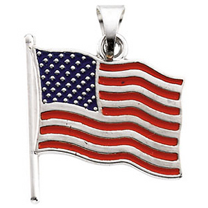 14k Gold American Flag Pendant 14.5x14mm