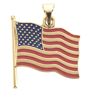 14k Gold American Flag Pendant 17.5x17mm