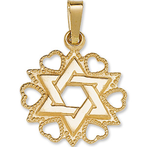14kt Yellow Gold Star of David Hearts Pendant 18x15mm