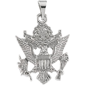 14kt White Gold 3/4in U.S. Army Eagle Pendant