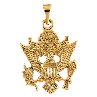 14kt Yellow Gold 3/4in U.S. Army Eagle Pendant