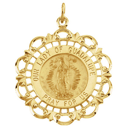 14kt Yellow Gold 1in Ornate Lady of Guadalupe Medal