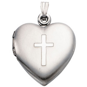 Heart and Cross Locket 15.5x13mm - Sterling Silver
