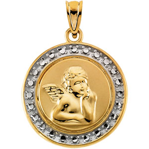 14kt Two-tone Gold 18.75mm Raphael Angel Pendant