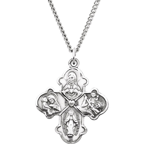 Sterling Silver 1 1/4in Four Way Medal & 24in Chain