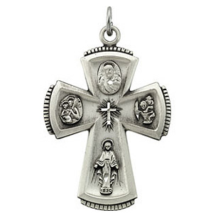 Sterling Silver 1 1/4in 4-Way Medal & Chain