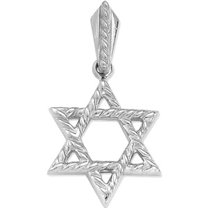 14kt White Gold 3/4in Star of David Braided Pendant