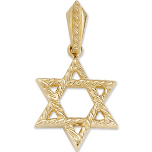 14kt Yellow Gold 3/4in Star of David Braided Pendant