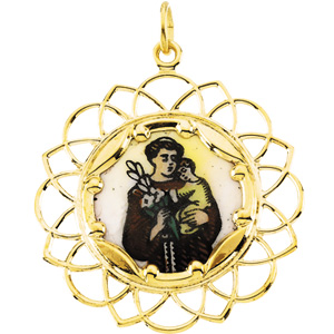 10k Yellow Gold St. Anthony Medal with Enamel 1in