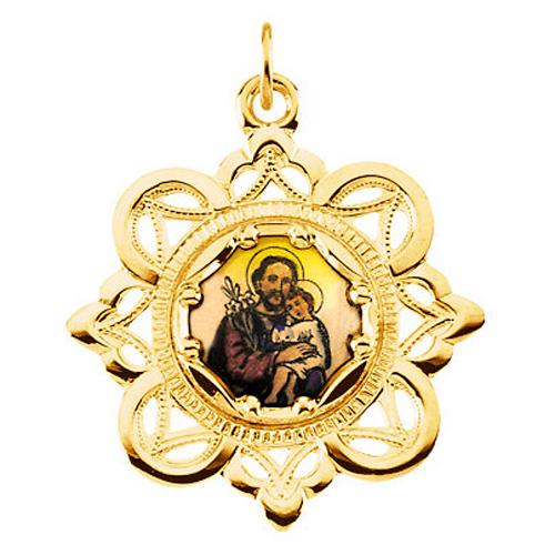 10kt Yellow Gold 1in Enamel St. Joseph Medal