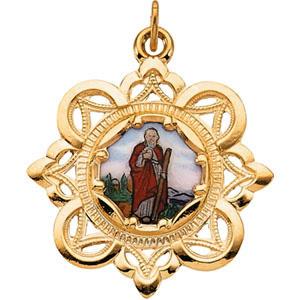 10kt Gold Enamel St. Jude Thaddeus Medal 25.75mm