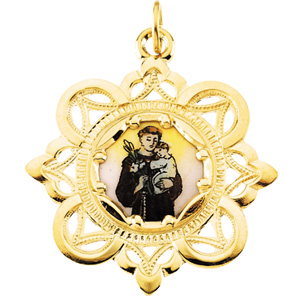10kt Yellow Gold 1in Enamel St. Anthony Medal