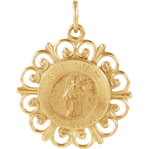 14kt Yellow Gold 18.5mm St. Patrick Medal