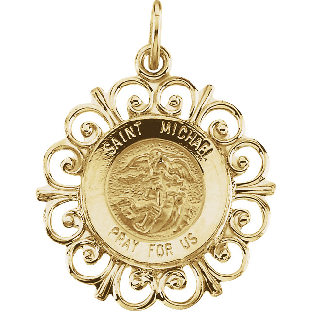14kt Yellow Gold 3/4in Fancy St. Michael Medal