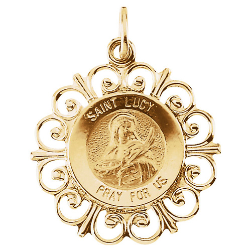 14kt Yellow Gold 3/4in Fancy St. Lucy Medal