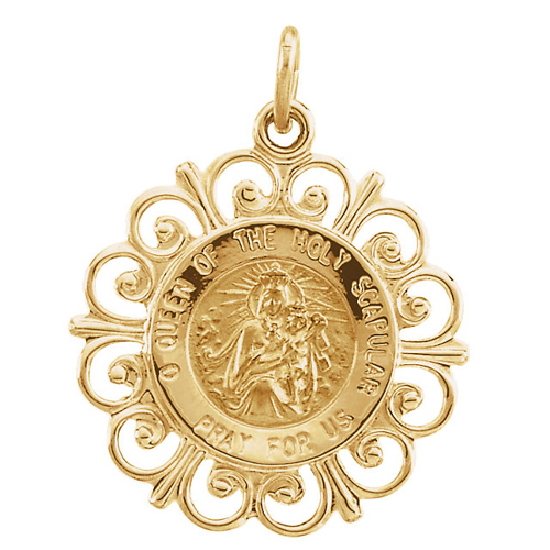 14kt Yellow Gold Fancy 3/4in Scapular Medal