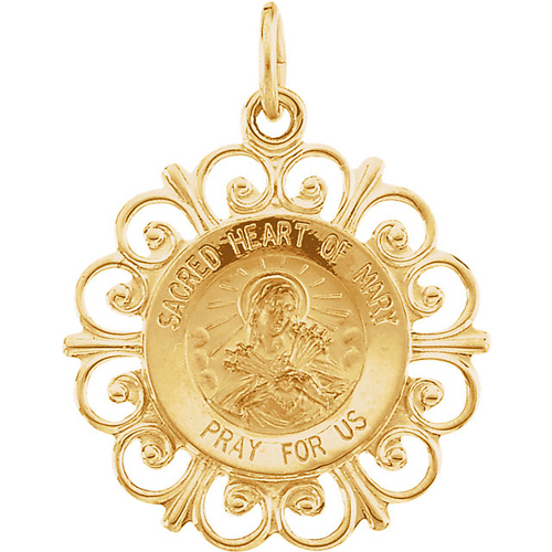 14k Sacred Heart of Mary Medal 18.5mm