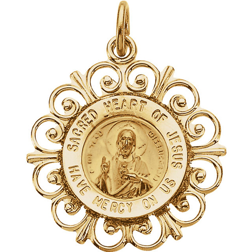 14kt Yellow Gold 3/4in Sacred Heart of Jesus Medal Scalloped Edges