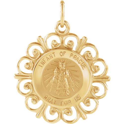 14kt Yellow Gold 3/4in Fancy Infant of Prague Medal