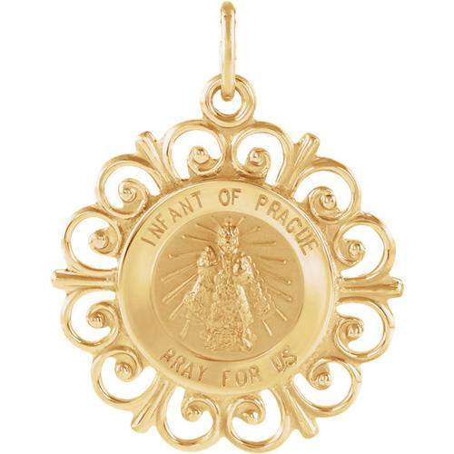 14kt Yellow Gold 3/4in Fancy Infant of Prague Medal