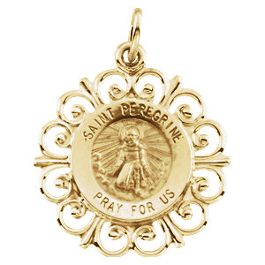 14kt Yellow Gold 3/4in Fancy St. Peregrine Medal