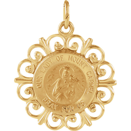 Lady of Mount Carmel Medal 3/4in 14k Yellow Gold