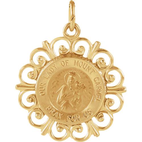 14k Lady of Mount Carmel Medal 18.5mm