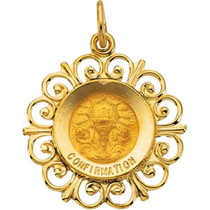 14kt Yellow Gold 3/4in Confirmation Medal
