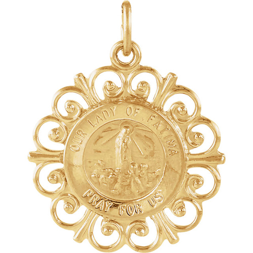 14kt Yellow Gold 3/4in Our Lady of Fatima Medal