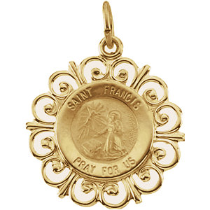 14kt Yellow Gold 3/4in Fancy St. Francis Medal